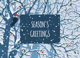 Winter Wonderland. First Snow. Season's greeting card. Hand drawn vector illustration of snowfall,  trees, woodpecker, apples.