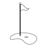 Golf playfield flag and hole in black and white