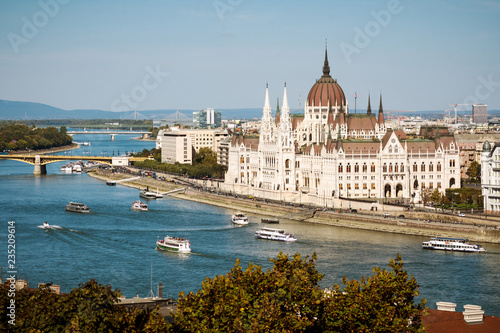 Budapest parliament on Danube river