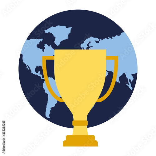world map trophy business concept