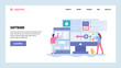 Vector web site gradient design template. Software development and application coding. Saftware engenieer write computer code. Landing page concepts for website and mobile development. Modern flat