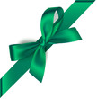 Vector green bow with diagonally ribbon on the corner of the page isolated on white.