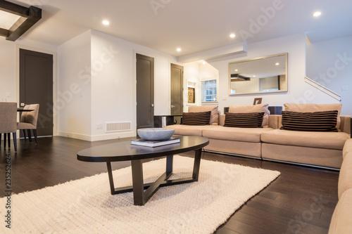 Spacious bright living room in luxury house. Interior design.