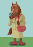Horse woman with a bag talking on the phone/ Horse talking on a cell phone, make little secret for friends and acquaintances to laugh who is calling you on the phone? © arefiks975