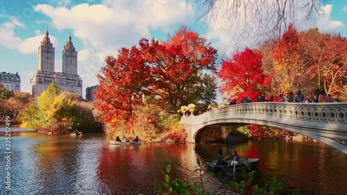 New York City Central Park in Autumn with skyscrapers apartment bridge boat and lake