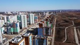 Span along new and under construction houses, Akademicheskiy district. Ekaterinburg, Russia, From Drone - 235267470