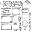 Bullet journal and Christmas hand drawn vector elements for notebook, diary and planner. Doodle frames isolated on white background.