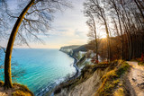 Hiking trail on Rügen with a view on the Baltic Sea at sunset © John Smith