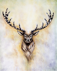 painting of sacred mythological deer spirit with ornaments.