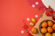 Chinese New Year background with traditional decorations for Spring festival on red table