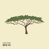 African tree icon, acacia tree silhouette. Icon with scuffed effect - 235322018