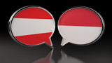 Austria and Monaco flags with Speech Bubbles. 3D illustration - 235329433
