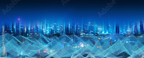 Smart network and connection city - 235334605