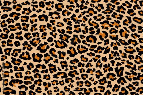 Print leopard pattern texture repeating seamless orange black - 235337850
