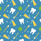 Seamless pattern background for health and dental care with tooth, toothpaste, toothbrush and fresh apples. - 235344429
