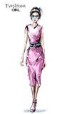 Hand drawn beautiful young woman in pink dress. Stylish elegant girl. Fashion woman look. Sketch.