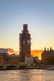 Big Ben under construction in sunset