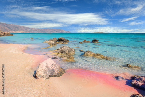 Leinwanddruck Bild Famous Elafonisi beach on Greece island Crete