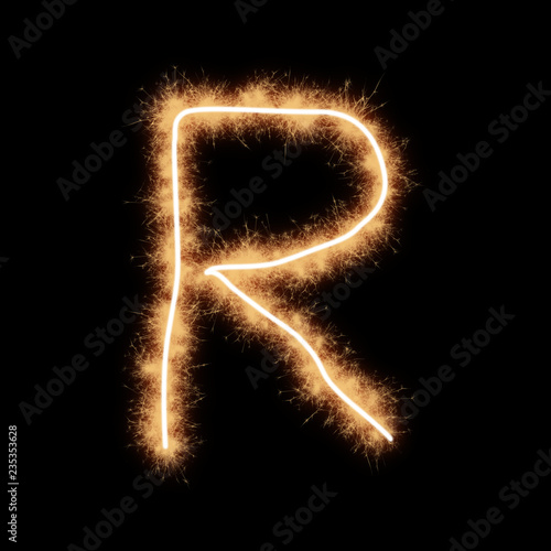 Foto Murales Letter R of alphabet on a black background..