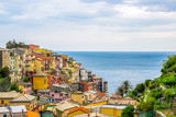 beach streets and colorful houses on the hill in Manarola in Cinque Terre in Italy