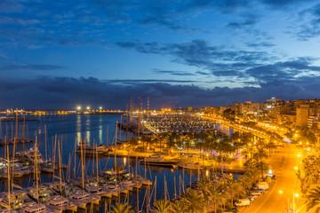 PALMA DE MALLORCA, SPAIN - NOVEMBER 19, 2018: Evening view of Palma de Mallorca