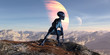 3d illustration of an female extraterrestrial looking at an alien world while crouching on a mountain top with large and small planets in the background. - 235366279