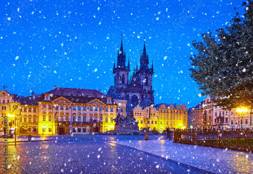 Prague, Czech Republic Central Old Town square in Night view - 235366480
