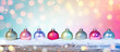 Colorful Baubles On Snow In Shiny Background
