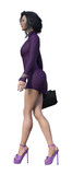 3d Illustration of a  businesswoman wearing a short purple dress and high heels holding a small case isolated on a white background. - 235370422