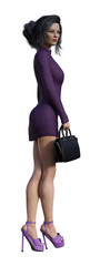 3d Illustration of a  businesswoman wearing a short purple dress and high heels holding a small case isolated on a white background. © Bert Folsom