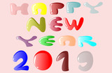 Happy New Year text on a white background.
