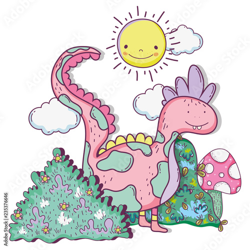 fantastic dragon creature with bushes and sun