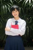 Portrait of thai high school student uniform teen beautiful girl happy and relax - 235385866