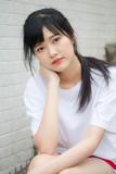 asia thai japanese teen teen White t-shirt beautiful girl happy and relax - 235387010