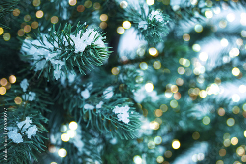 Closeup of Christmas tree with light, snow flake. Christmas and New Year holiday background. vintage color tone. - 235389277
