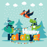 Cute winter holiday illustration with funny dinosaurs. Christmas and New Year vector card © cristinn