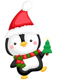 a vector of a cute penguin holding small tree