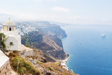 White chapel at the top of the rocks at Fira, Santorini, Greece - 235408649