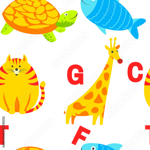 fototapeta na ścianę Alphabet animals and letters study material for children vector.