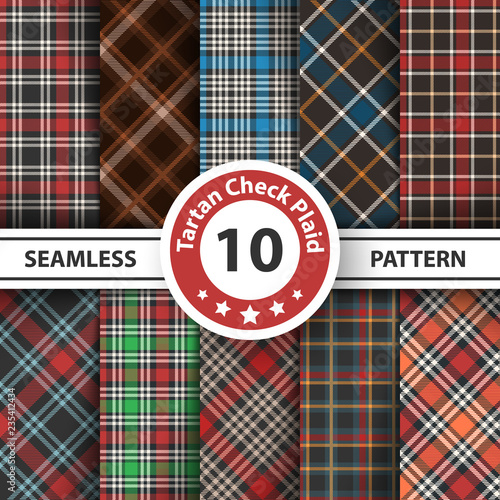 Classic tartan, Picnic tablecloth, Gingham, Buffalo, Lamberjack, Merry Christmas check plaid seamless patterns. © HandDraw