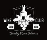 Premium wine club isolated monochrome emblem flat vector illustration on white background. - 235415228