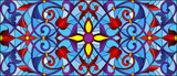 Illustration in stained glass style with abstract flowers, leaves and curls on blue background, horizontal orientation