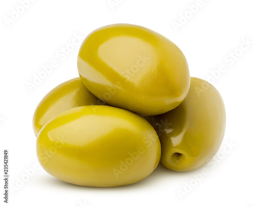 Leinwandbild Motiv olive isolated on white background, clipping path, full depth of field