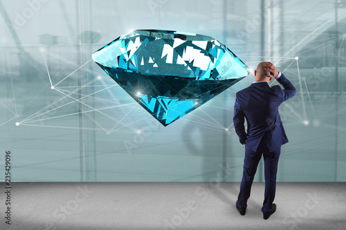 Leinwandbild Motiv Businessman in front of a wall with diamond shinning in front of connections - 3d render