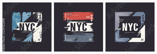 New York City t-shirt and apparel brush style vector abstract ge - 235432698