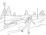 Young girl skating at the ice rink graphic black white winter landscape sketch illustration vector - 235441845