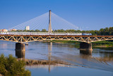 Warsaw, Poland - Panoramic view of the Vistula river with Most Srednicowy railway bridge and northern district of Warsaw - 235445042
