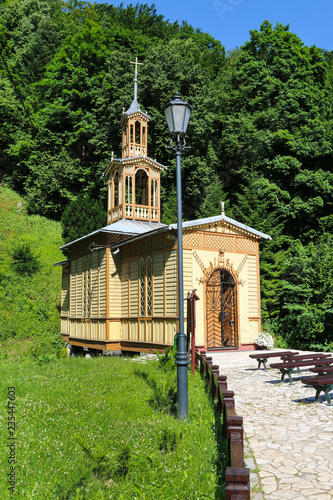 fototapeta na ścianę KRAKOW,POLAND - SEPTEMBER 03, 2015: Wooden church in Pradnik Valley