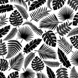Tropical leaves background. Vector