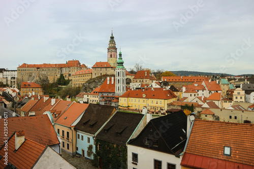fototapeta na ścianę Autumn panoramic view of old town and castle of Cesky Krumlov